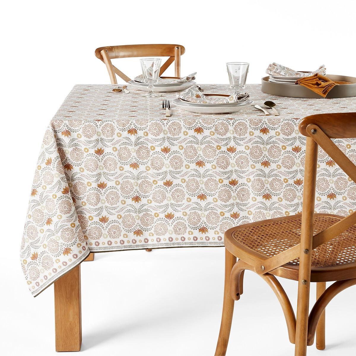 Скатерть LaRedoute С рисунком из смесовой ткани из льна и осветленного хлопка Zinnia 150 x 300 см бежевый