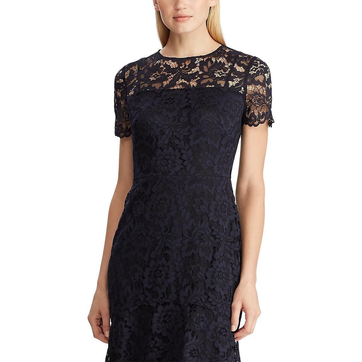Платье La Redoute Из гипюра с короткими рукавами 38 (FR) - 44 (RUS) синий полуприлегающее платье с рукавами 3 4 laura bettini