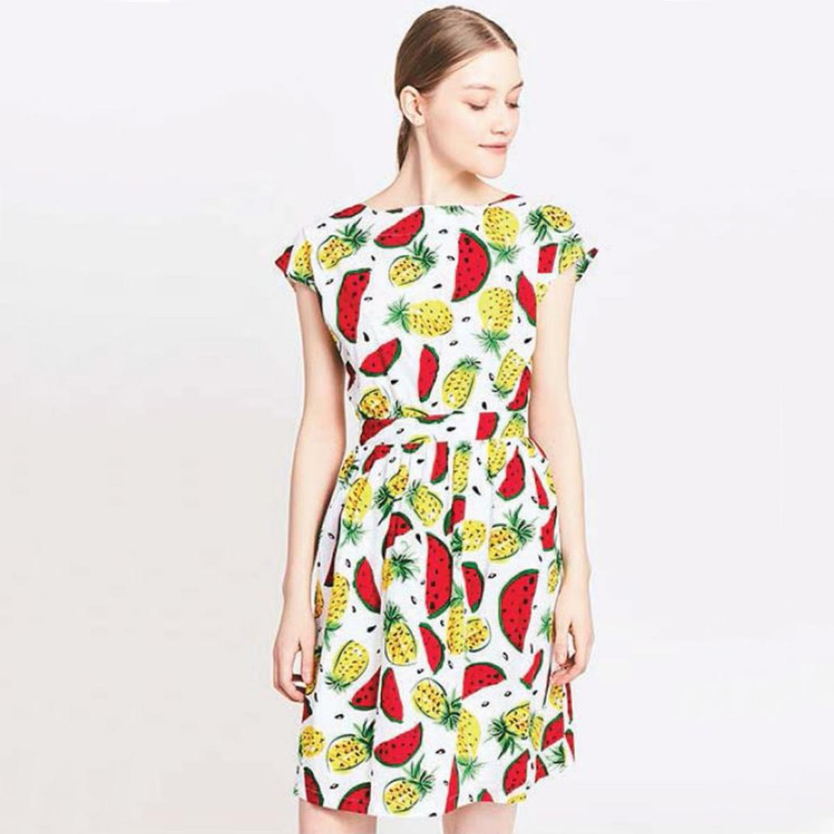 Платье короткое с короткими рукавамиДетали •  Форма : МИНИ •  короткое  •  Короткие рукава    •  Круглый вырез •  Рисунок-принтСостав и уход •  100% хлопок  •  Следуйте советам по уходу, указанным на этикетке<br><br>Цвет: рисунок/желтый<br>Размер: L