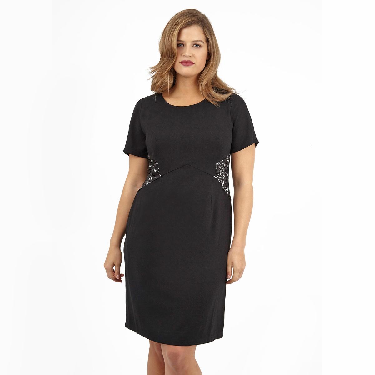 ПлатьеПлатье с короткими рукавами LOVEDROBE. Красивое кружево по бокам. 100% полиэстер.<br><br>Цвет: черный<br>Размер: 46 (FR) - 52 (RUS).54/56 (FR) - 60/62 (RUS)