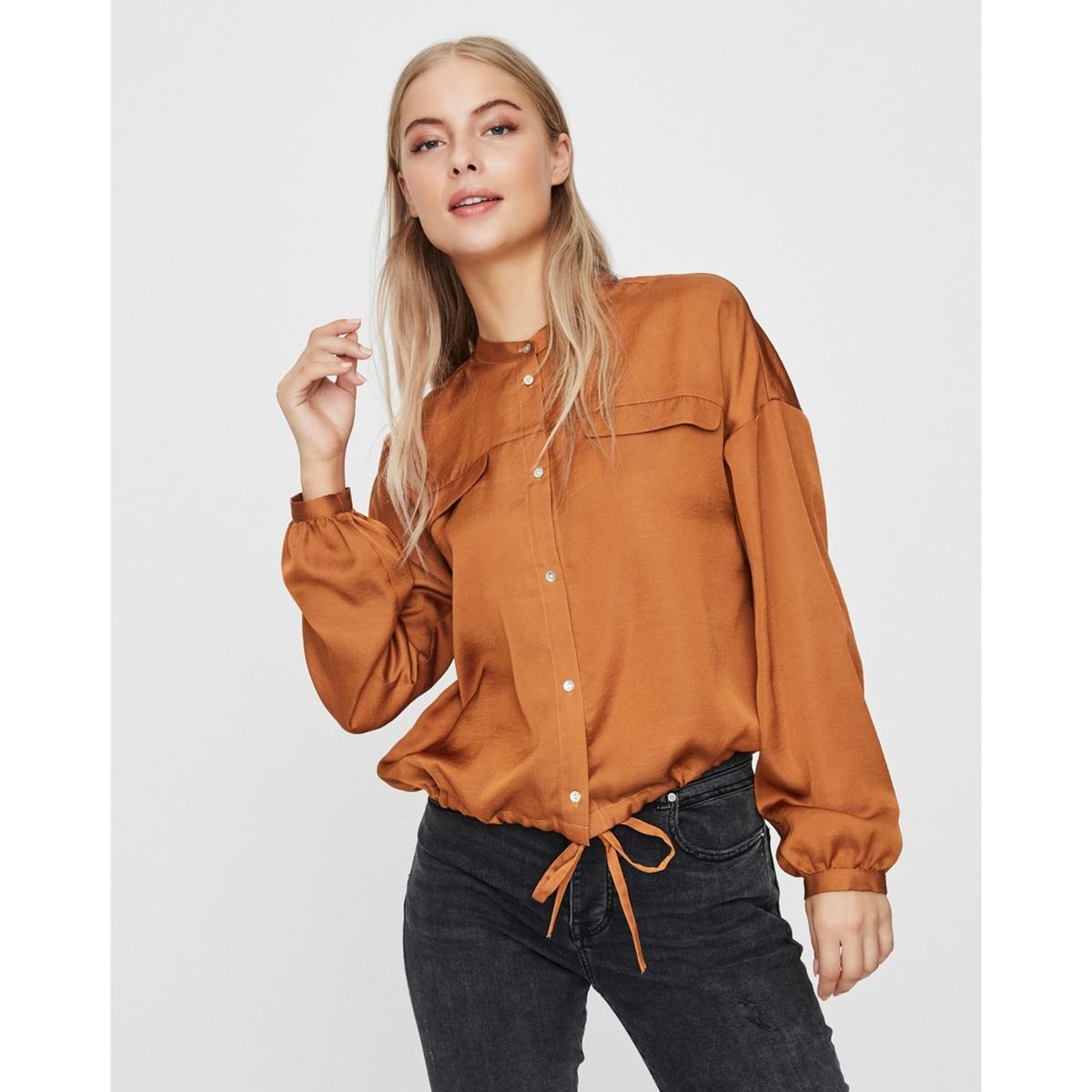 Блузка La Redoute Атласная с воротником-стойкой и длинными рукавами XS каштановый блузка la redoute из вуали с принтом и длинными рукавами smoke 3 l каштановый