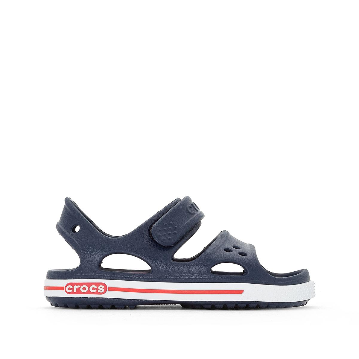 Босоножки Crocband II Sandal PSОписание:Детали •  Плоский каблук •  Высота каблука : 2 см •  Застежка : планка-велкро •  Открытый мысок •  Гладкая отделкаСостав и уход •  Верх 100% синтетический материал •  Подошва 100% синтетический материал<br><br>Цвет: синий/белый/желтый,темно-синий/ белый/ красный