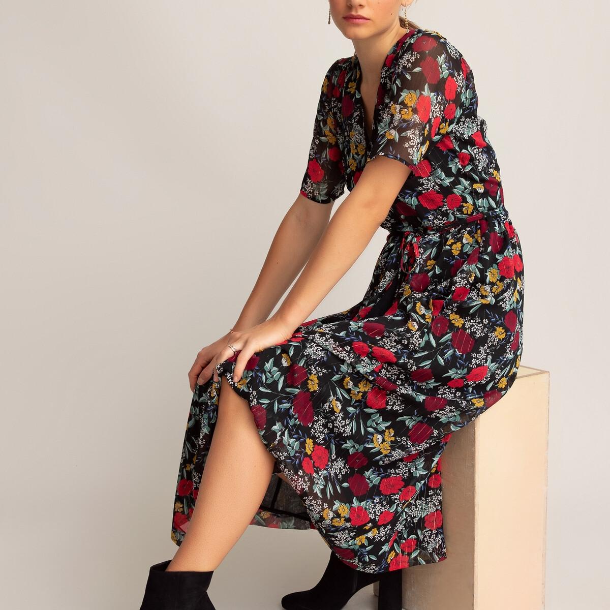 Платье La Redoute С запахом длинное с короткими рукавами с принтом 34 (FR) - 40 (RUS) черный платье la redoute длинное с запахом с короткими рукавами 34 fr 40 rus черный