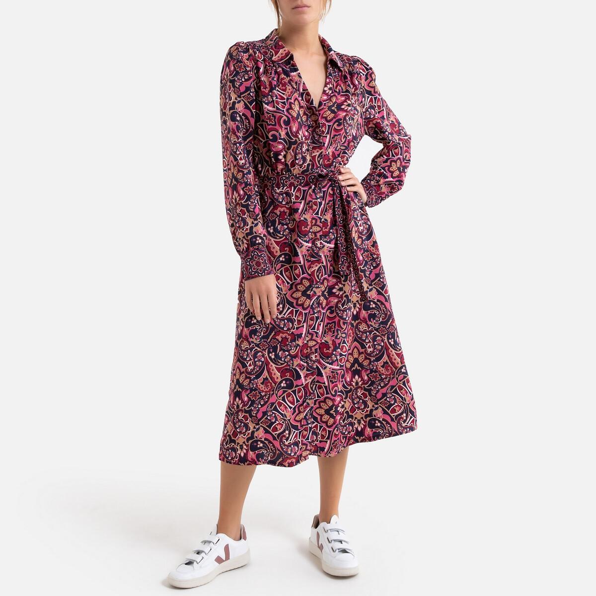 Платье LaRedoute Длинное прямое с кашемировым рисунком 3(L) розовый универсальное платье с рисунком supres