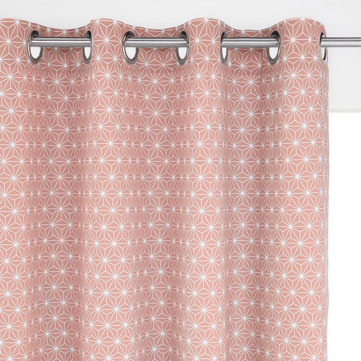 Штора La Redoute Из хлопка с люверсами Lozange 180 x 135 см розовый штора с люверсами 100% хлопок aron