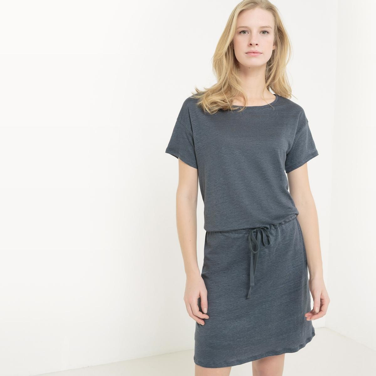 Платье с короткими рукавами из льна