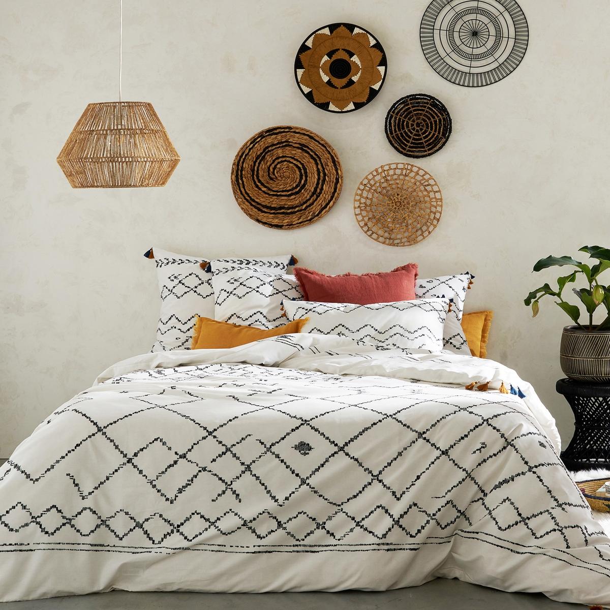 Пододеяльник La Redoute Из хлопка Afro Craft 140 x 200 см черный