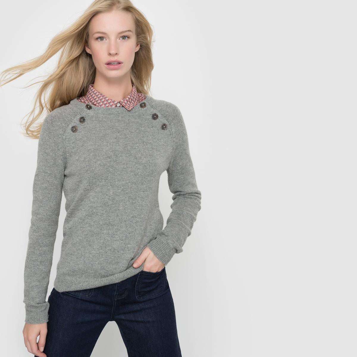 Пуловер с пуговицами на проймах, 50% шерсти