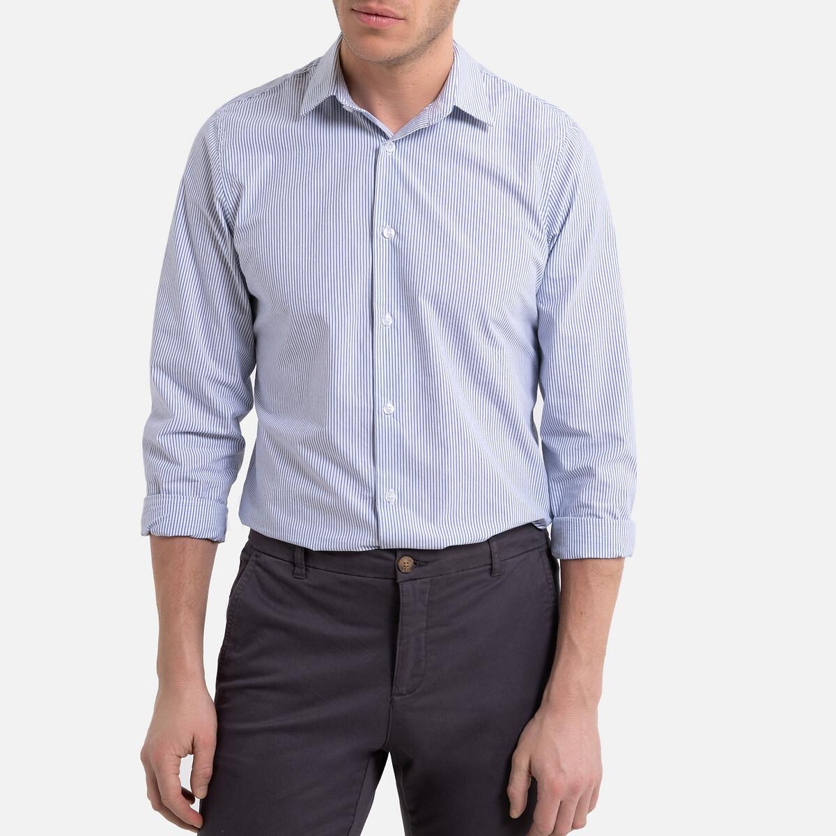 Рубашка La Redoute Узкого покроя в полоску с длинными рукавами 45/46 белый рубашка la redoute прямого покроя в клетку с длинными рукавами 45 46 серый