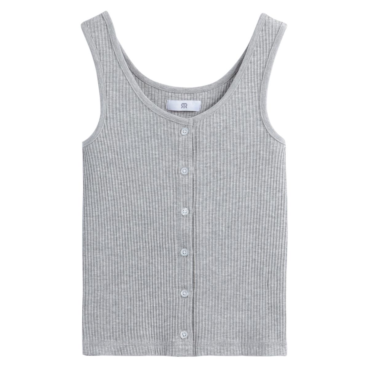Camiseta sin mangas con cuello redondo, punto de canalé y abotonado delante