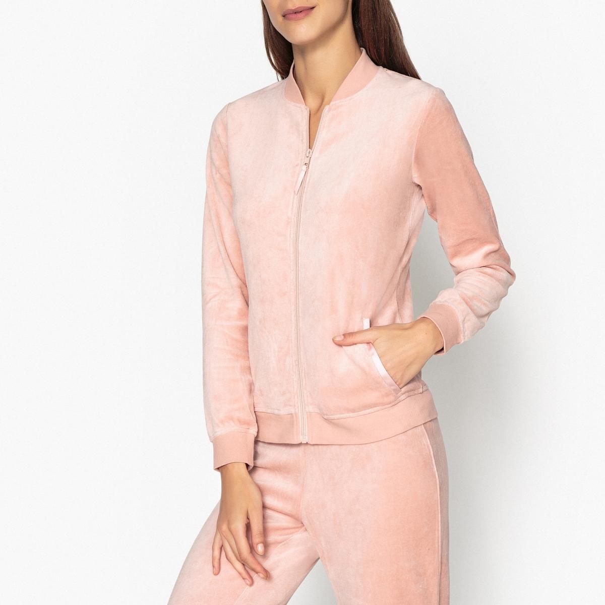 купить Жакет La Redoute От пижамы из велюра 46/48 (FR) - 52/54 (RUS) розовый дешево