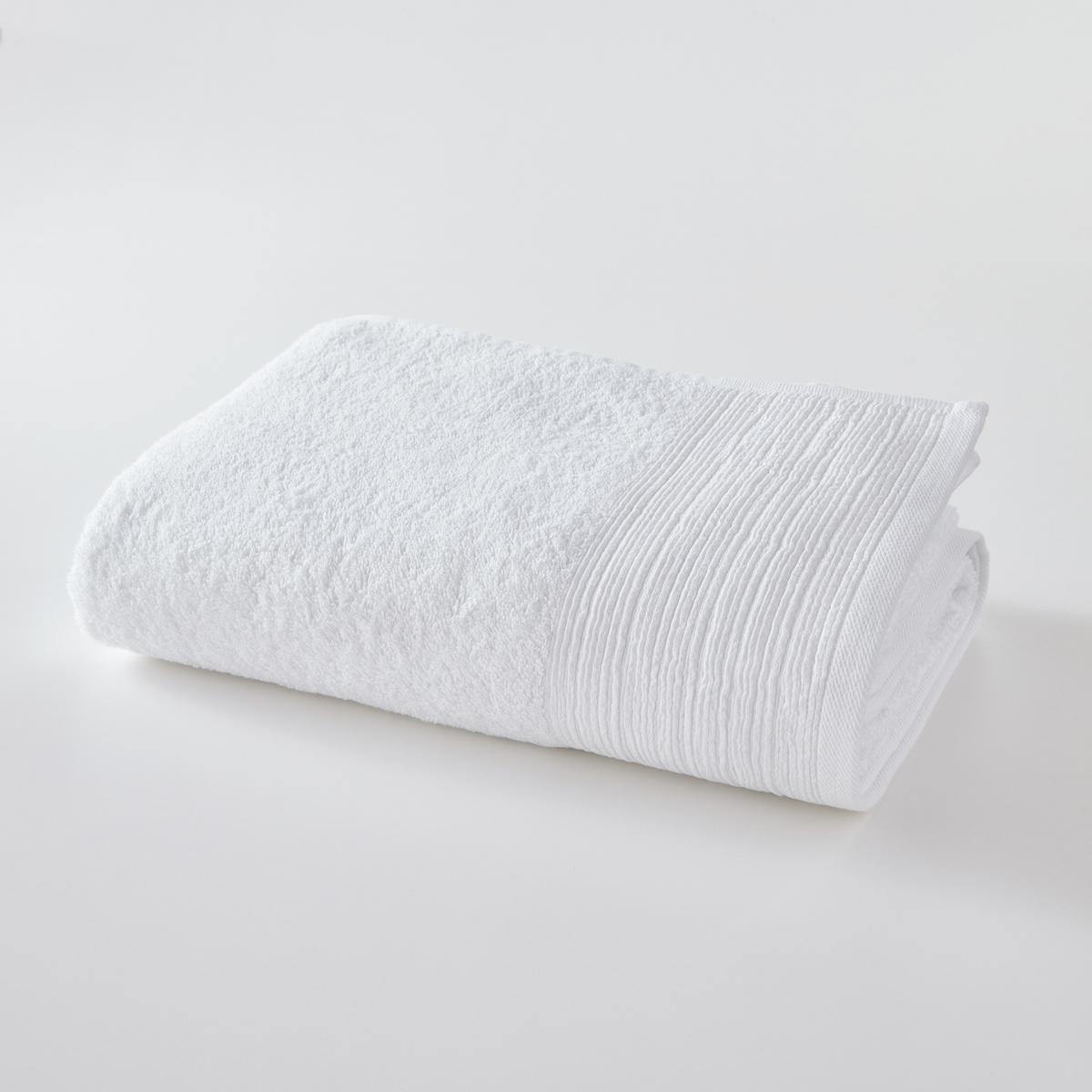 Полотенце La Redoute Банное большое однотонное из махровой ткани биохлопка 100 x 150 см белый