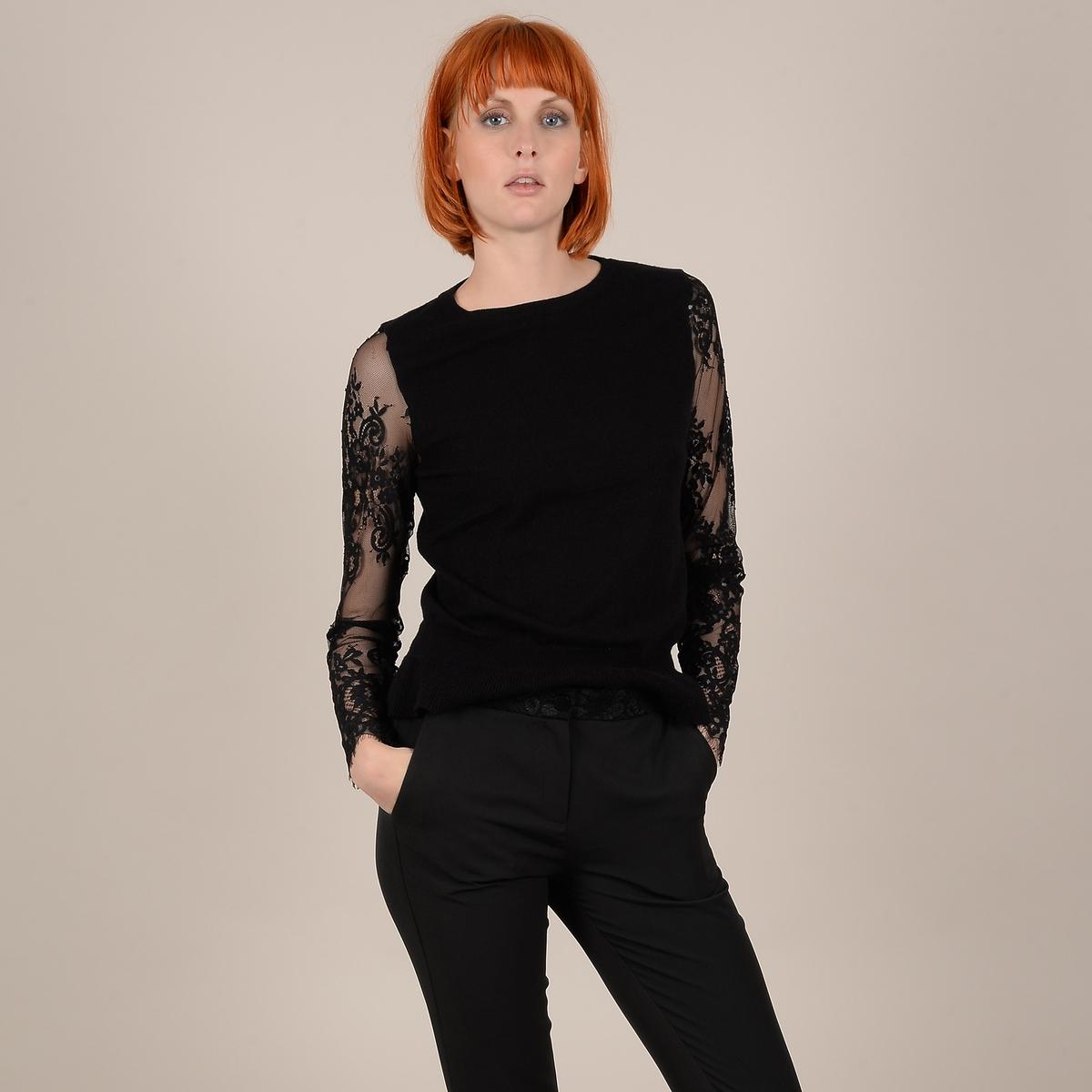Пуловер La Redoute Из тонкого трикотажа с длинными рукавами из вуали с вышивкой M черный цена