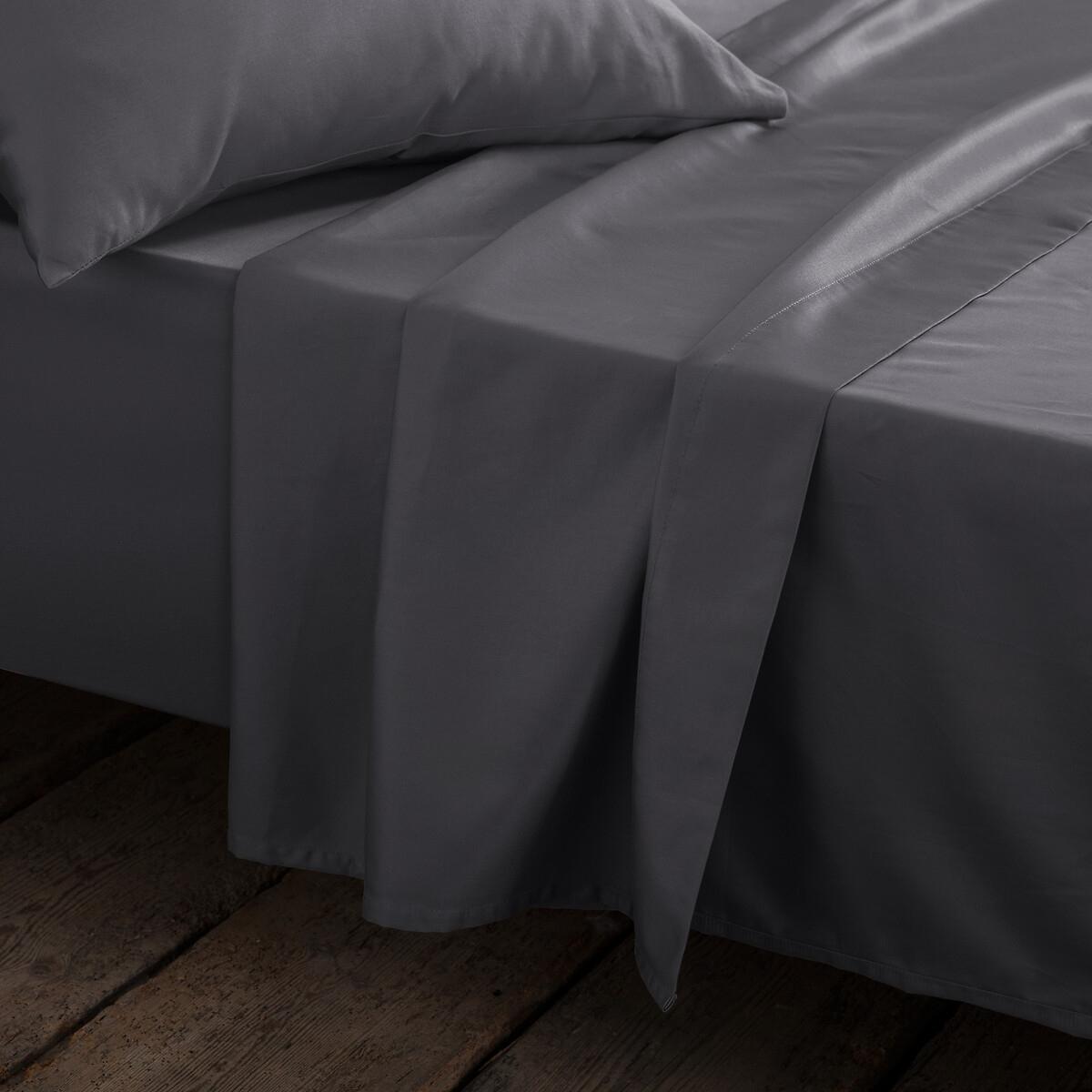 Простыня La Redoute Сатиновая 100 хлопка 180 x 290 см серый