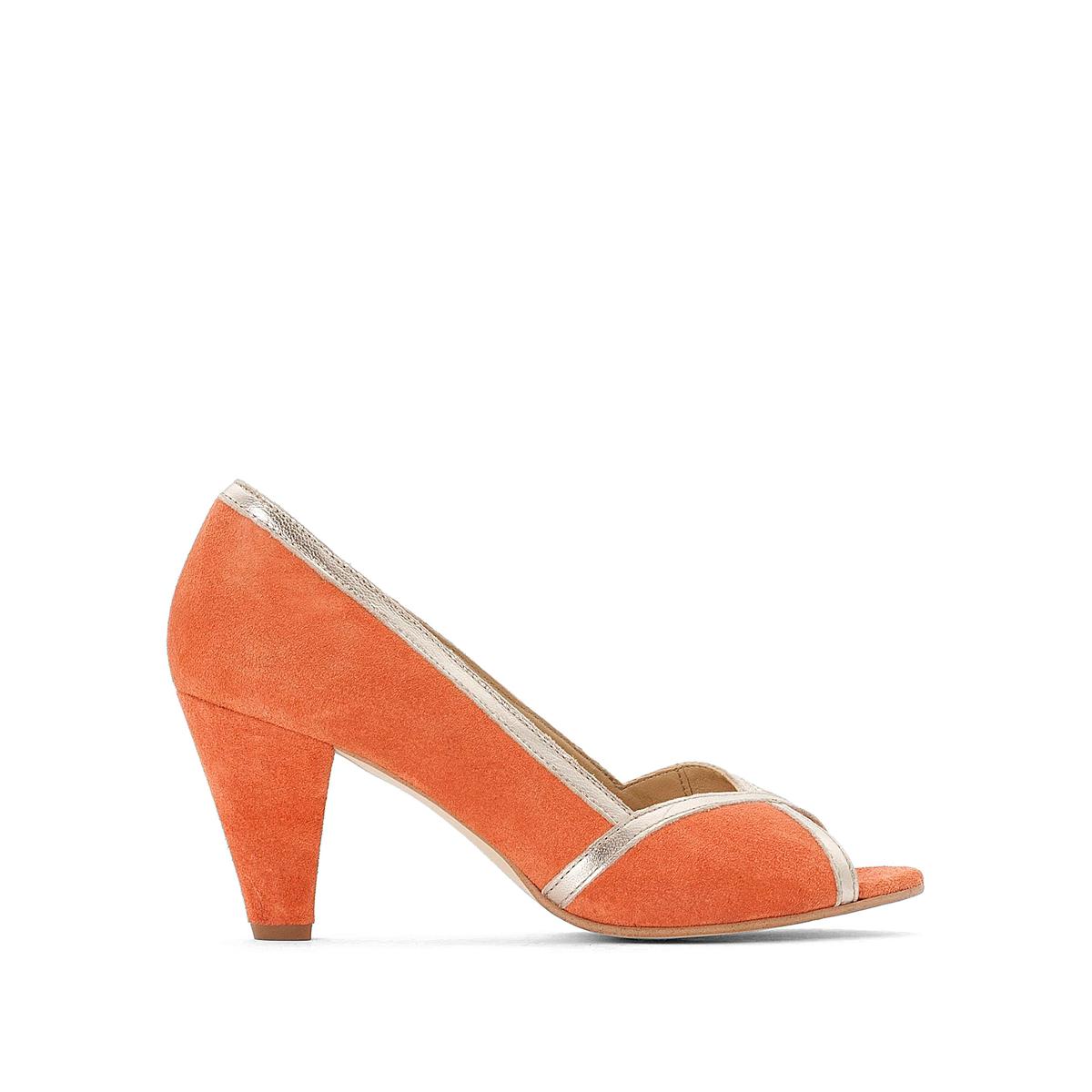 Туфли La Redoute Кожаные с открытым мыском 36 оранжевый туфли la redoute кожаные с открытым мыском и деталями золотистого цвета 41 черный