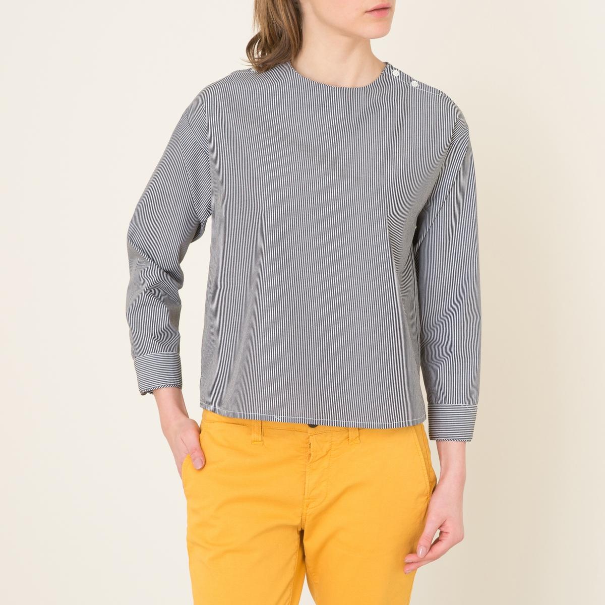 Блузка в полоску BENJAMINБлузка в полоску SOEUR - модель BENJAMIN из хлопка . Круглый вырез. Пуговицы на плечах. Длинные рукава. Манжеты с застежкой на пуговицы. Закругленный низ с разрезом по бокам .Состав и описаниеМатериал : 100% хлопокМарка : SOEUR<br><br>Цвет: белый/ черный