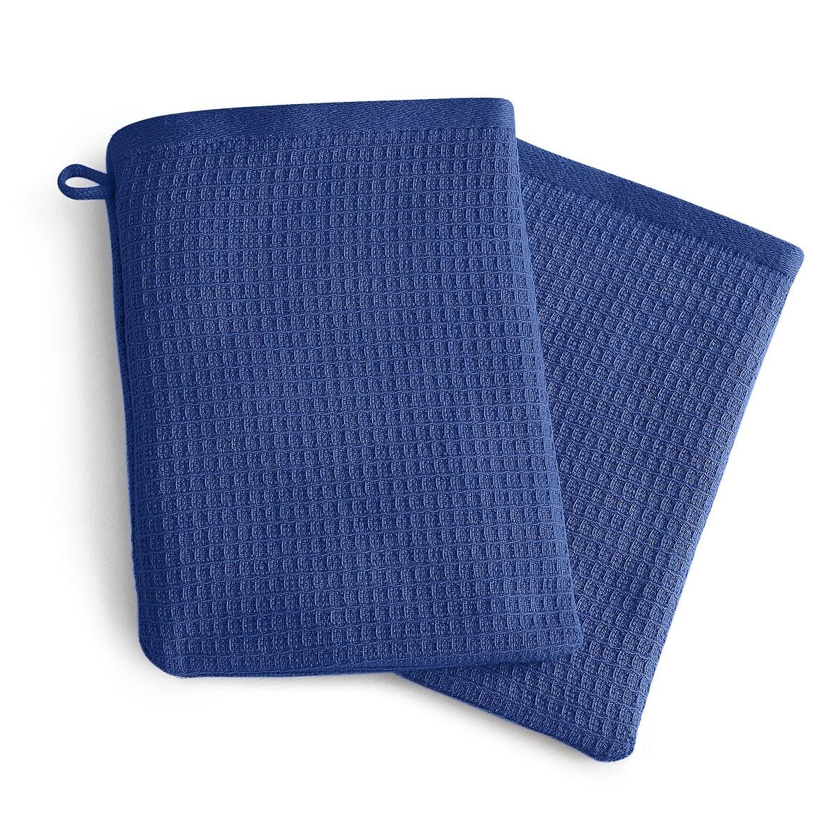 цены Комплект из банных рукавичек La Redoute Из хлопка и льна Nipaly 15 x 21 см синий