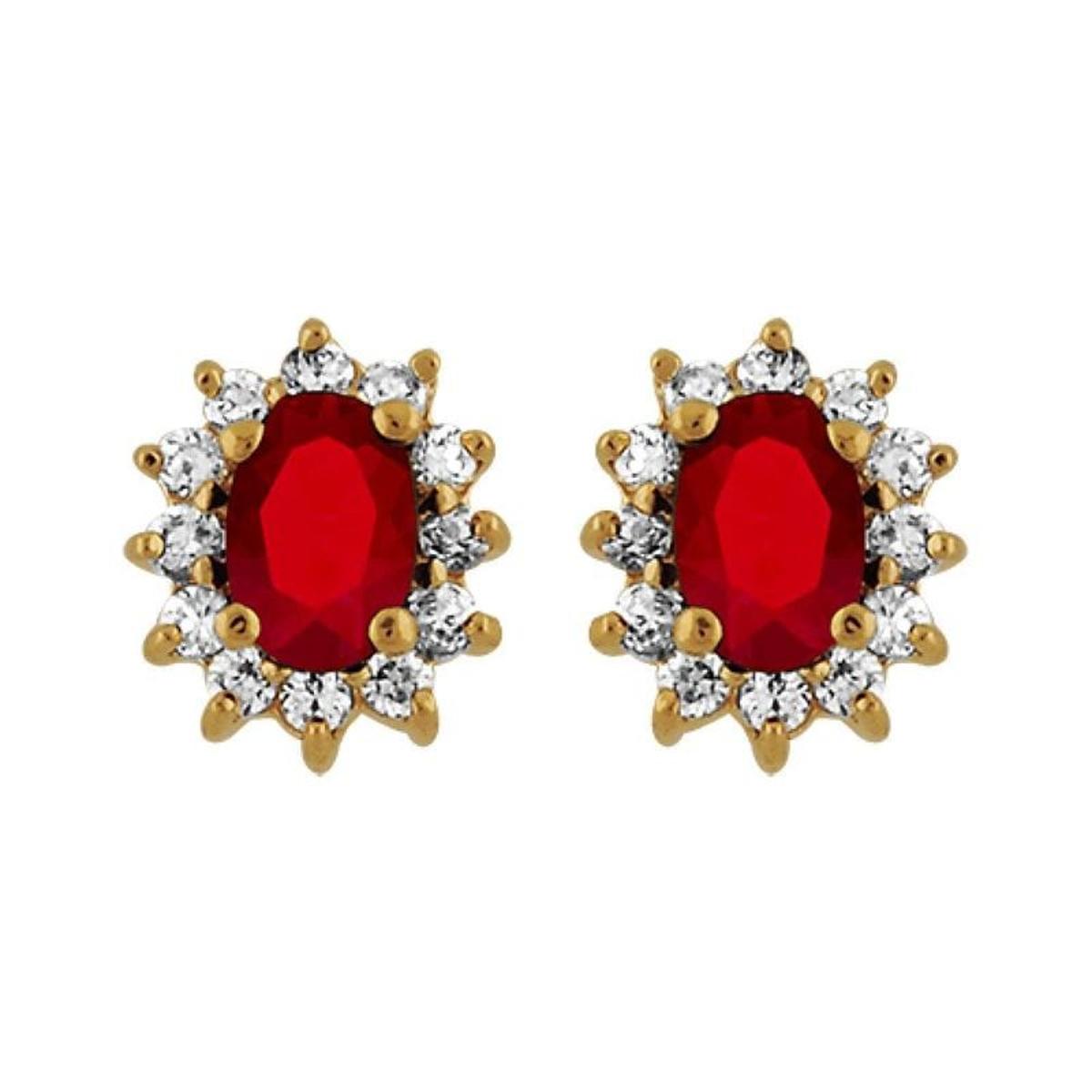 Boucles d'oreilles Marquise Rouge & Blanc Plaqué Or 750