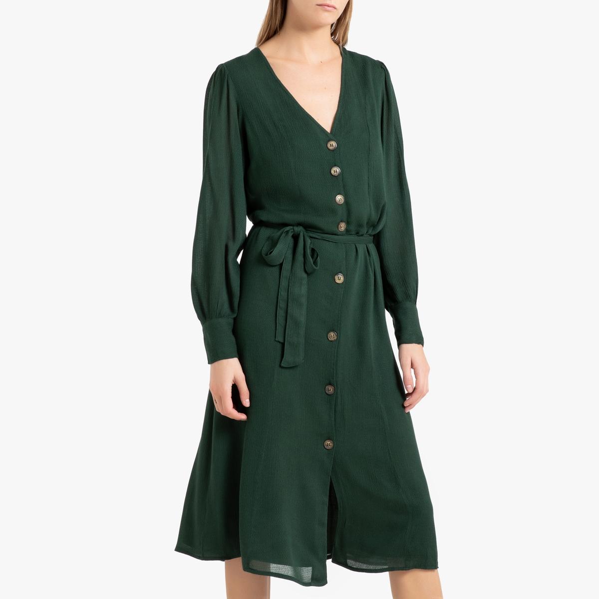 Длинное La Redoute Прямое платье длинные рукава NINON BLACK S зеленый