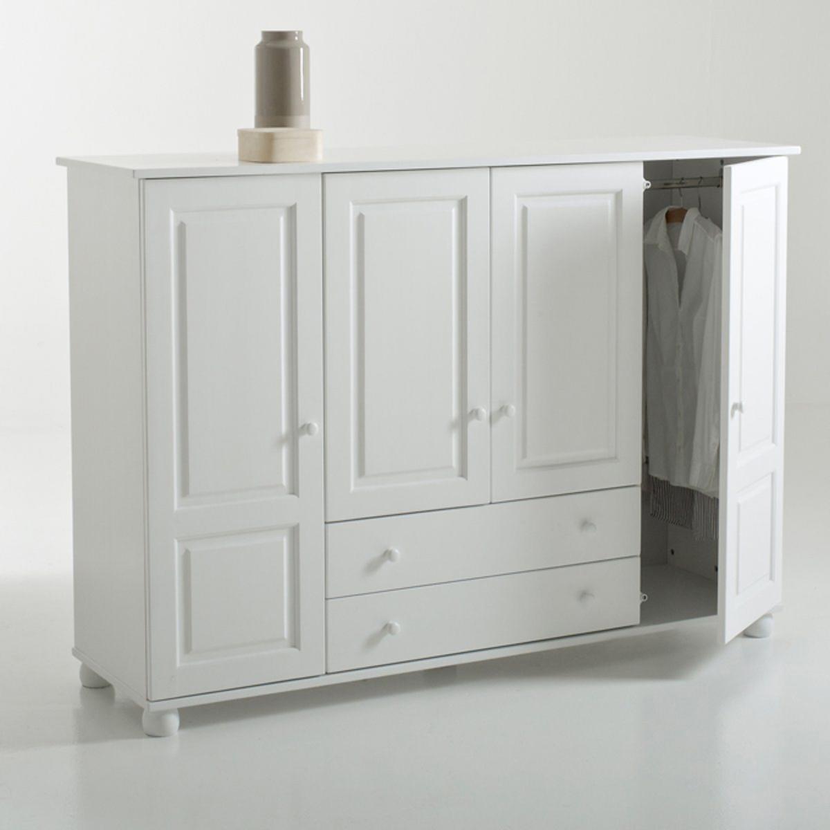 Шкаф LaRedoute Из массива сосны Redmond для вешалок и белья единый размер белый