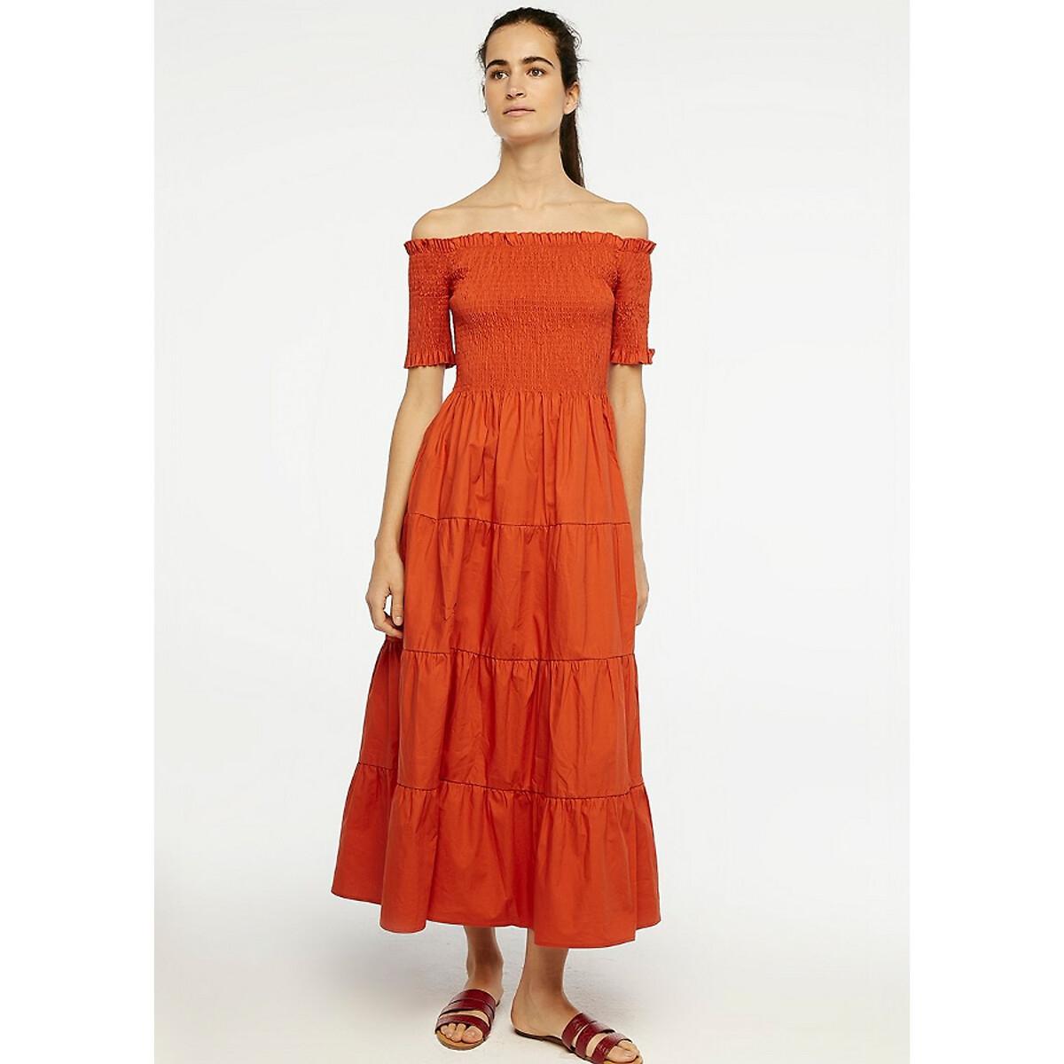 Robe longue évasée coton à fronces et smocks
