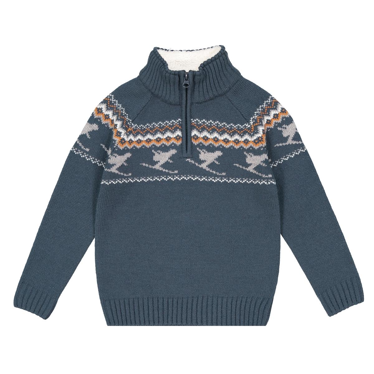 Пуловер с воротником-стойкой, 3-12 лет