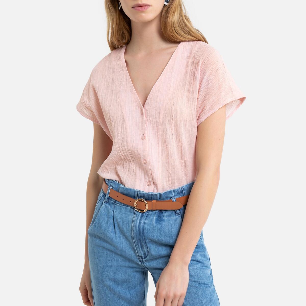 Camisa con escote de pico y magna corta de gasa 100% algodón