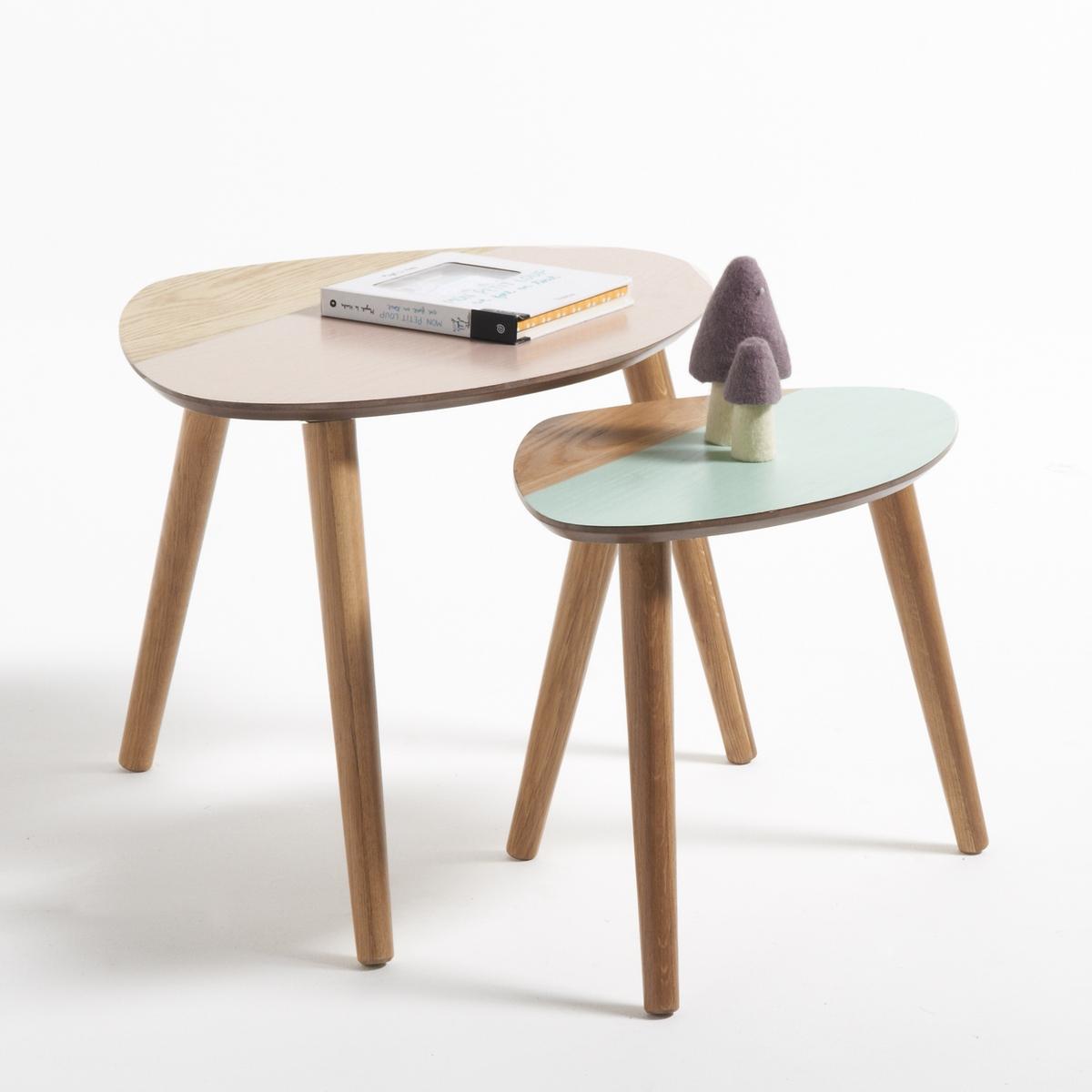 2 столика прикроватные выдвижные двухцветные Clairoy