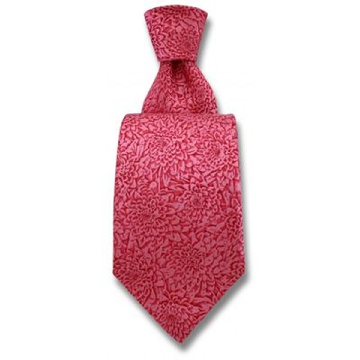 Cravate Robert Charles Chrysanthèmes Roses