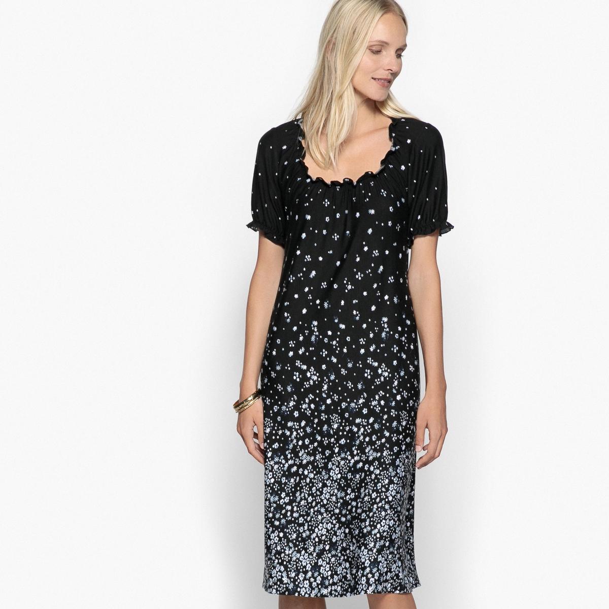 Платье прямое с рисунком из мягкого трикотажаОписание:Платье с цветочным рисунком. Выбирайте это платье из эластичного джерси и наслаждайтесь мягким трикотажем, комфортным и женственным.Детали •  Форма : прямая •  Длина до колен •  Короткие рукава    •  Круглый вырез •  Рисунок-принтСостав и уход •  95% вискозы, 5% эластана •  Температура стирки 30° на деликатном режиме   •  Сухая чистка и отбеливатели запрещены •  Не использовать барабанную сушку •  Низкая температура глажки •  Свободный круглый вырез с небольшими воланами. Короткие рукава с отделкой воланами с оборками. •  Длина  : 94,5 см<br><br>Цвет: рисунок/фон черный<br>Размер: 40 (FR) - 46 (RUS)