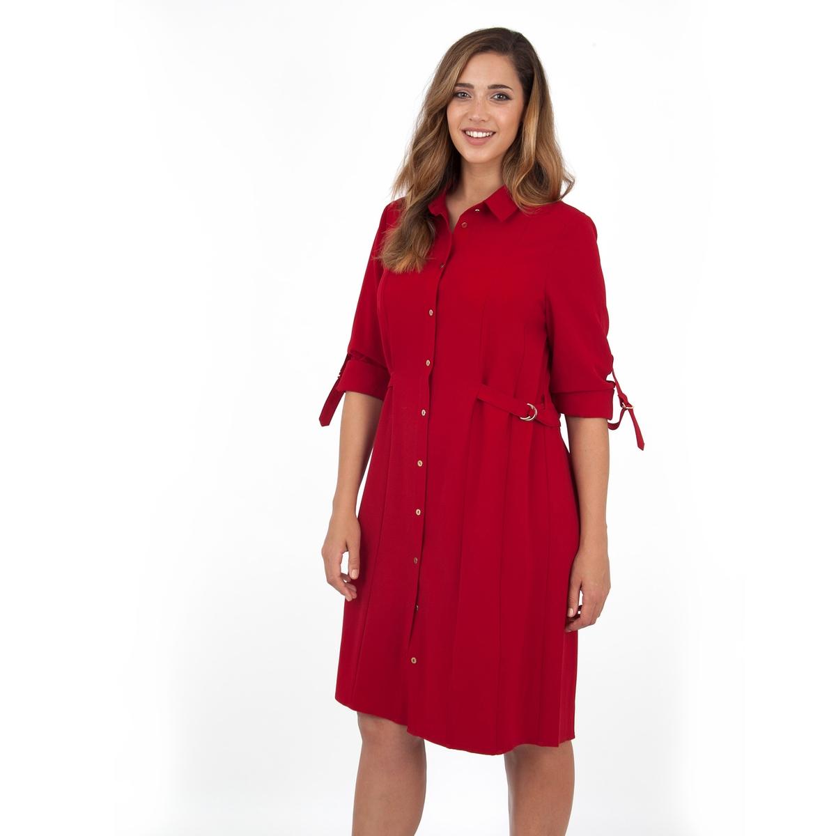 ПлатьеПлатье - LOVEDROBE. Платье притягательного красного цвета с рубашечным воротником и ремнем на поясе. Длина ок.104 см. 100% полиэстера. Застежка на золотистую пуговицу спереди.<br><br>Цвет: бордовый<br>Размер: 58/60 (FR) - 64/66 (RUS)