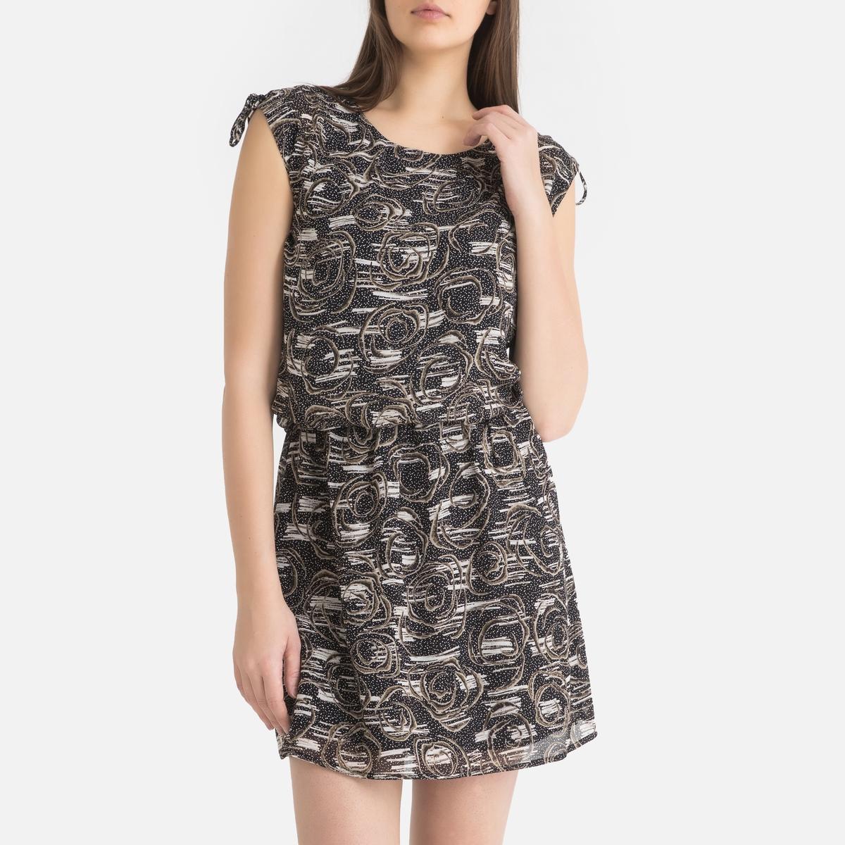 одеяло стеганое из хлопковой вуали с рисунком колорблок Платье La Redoute Короткое с рисунком из вуали 36 (FR) - 42 (RUS) черный