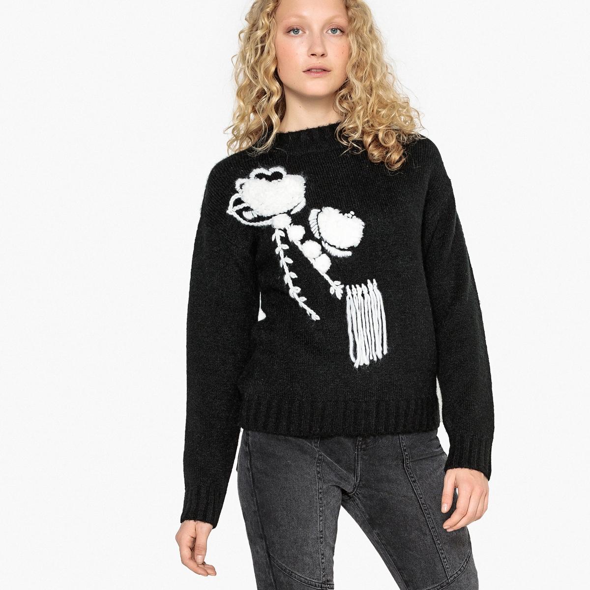 Пуловер с воротником-стойкой с ручной вышивкой La Redoute Collections