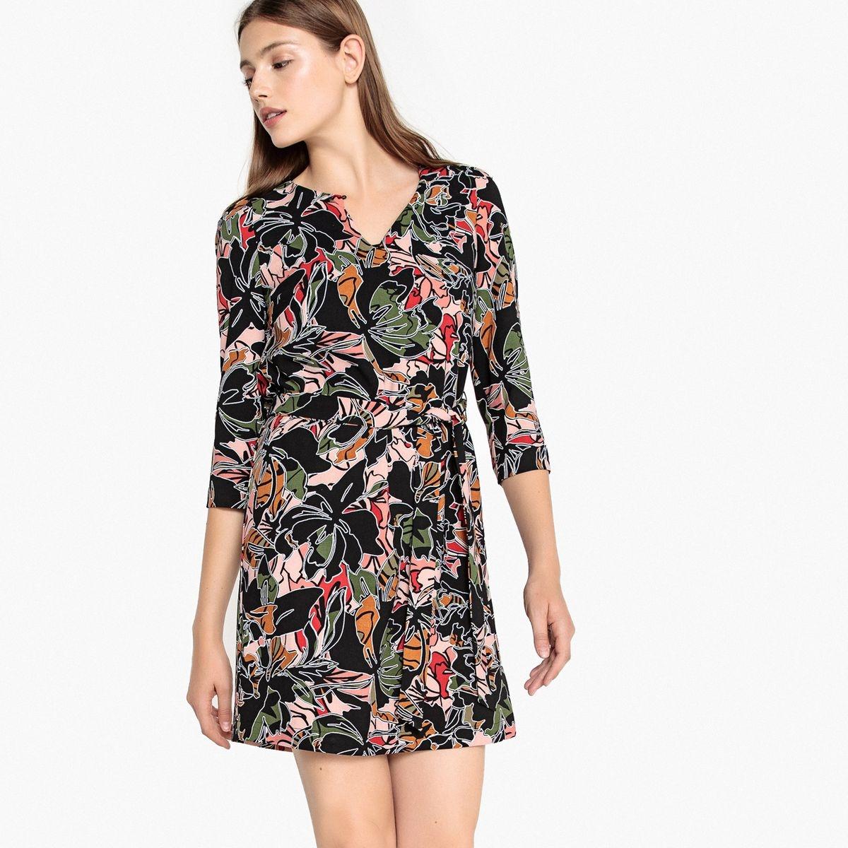Robe imprimé floral, manches 3/4, ceinture CANDY