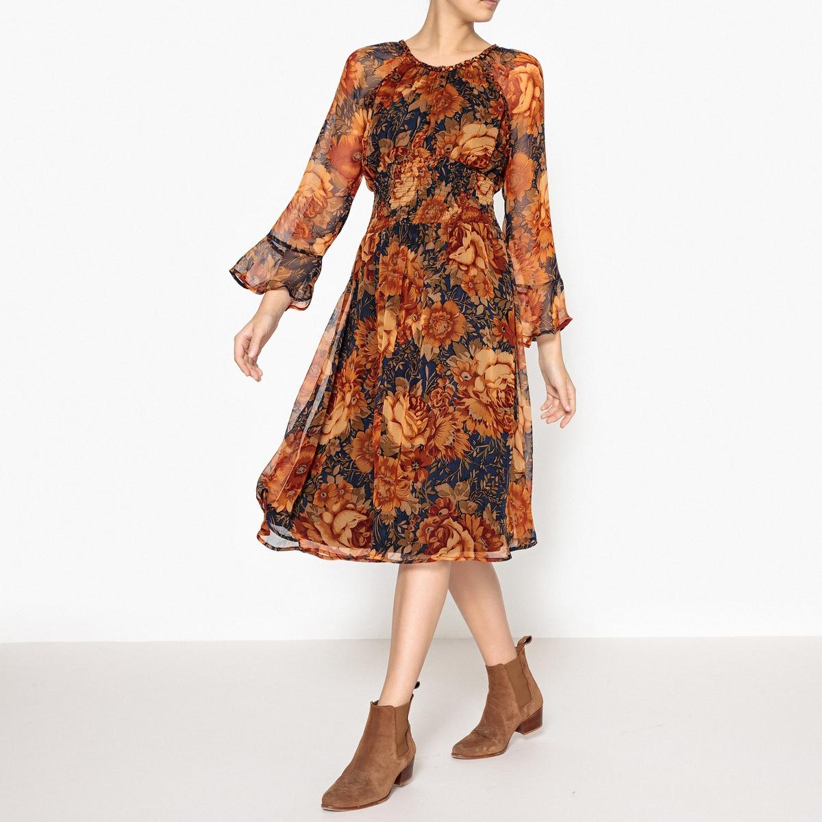Платье с рисунком MONY LONG DRESSПлатье ANTIK BATIK - модель MONY LONG DRESS с плетенным декоративным кантиком, эластичным поясом и широкими рукавами внизу.Детали •  Форма : расклешенная •  Длина миди, 3/4 •  Длинные рукава    •  Тунисский вырез •  Рисунок-принт •  Эластичный поясСостав и уход •  100% вискоза •  Следуйте советам по уходу, указанным на этикетке •  Плетенный кантик на воротнике и на швах пройм такой же ткани •  Воротник на крючке •  Длина : ок. 114 см. для размера 36<br><br>Цвет: оранжевый