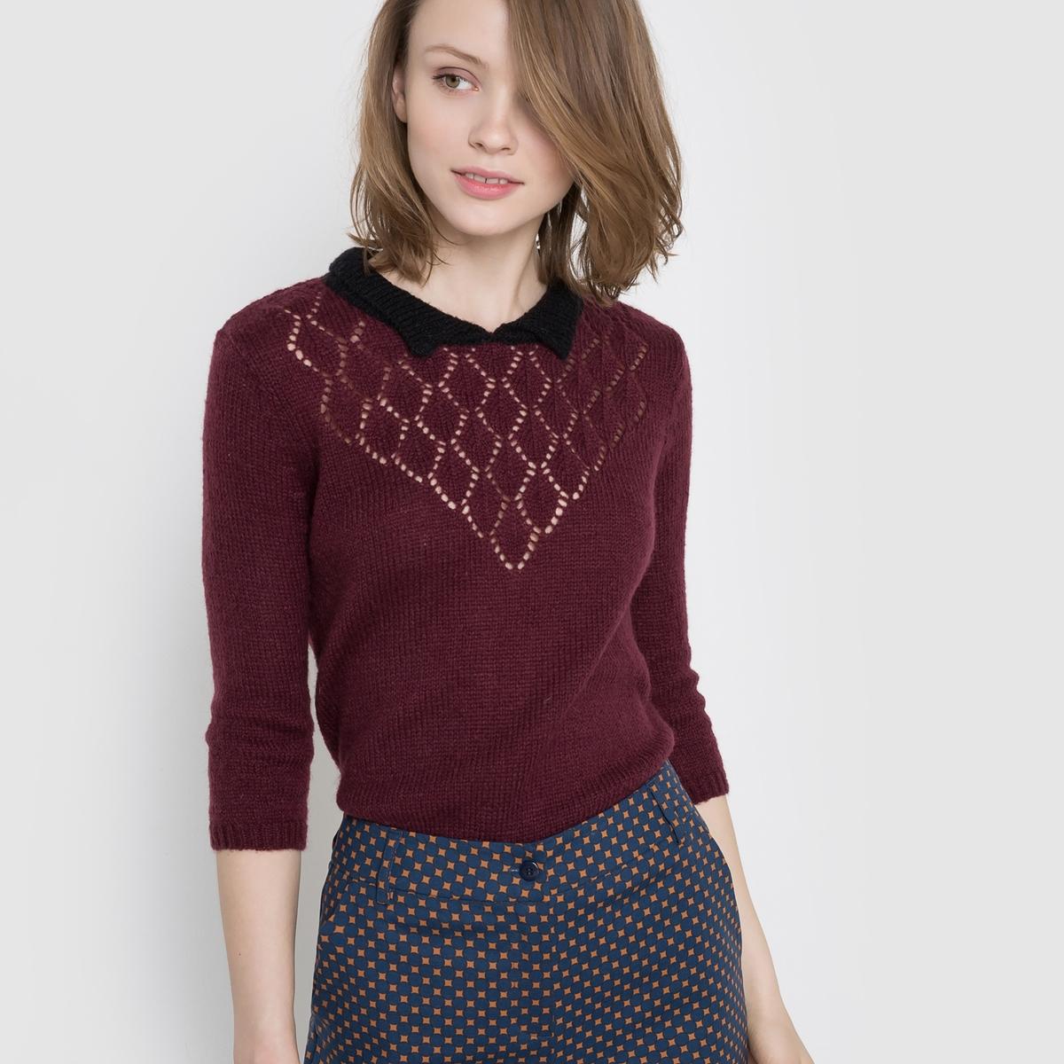 Пуловер ажурный с воротником-поло