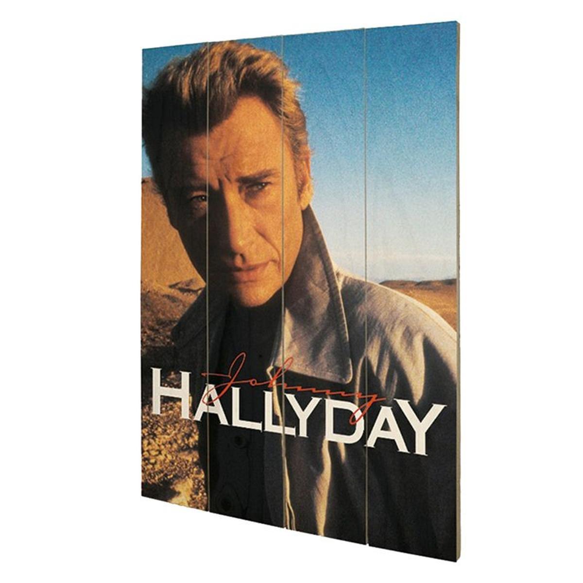 Plaque décorative Gang en bois Johnny Hallyday