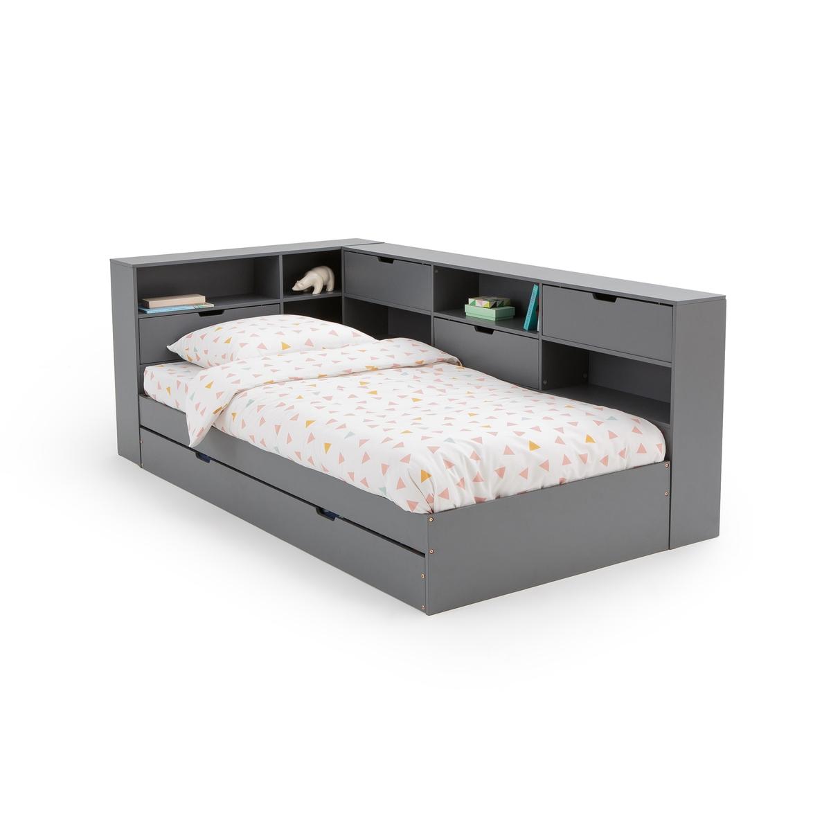 Кровать LaRedoute С ящиком отделениями для вещей и кроватным основанием Yann 90 x 190 см бежевый