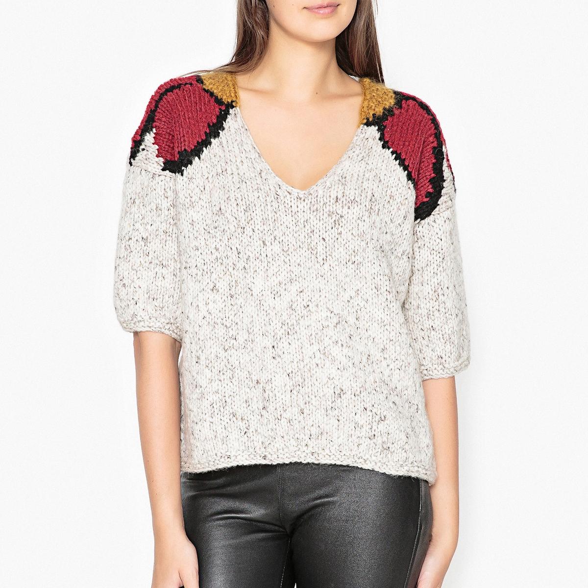Пуловер с V-образным вырезом из трикотажа GRACE