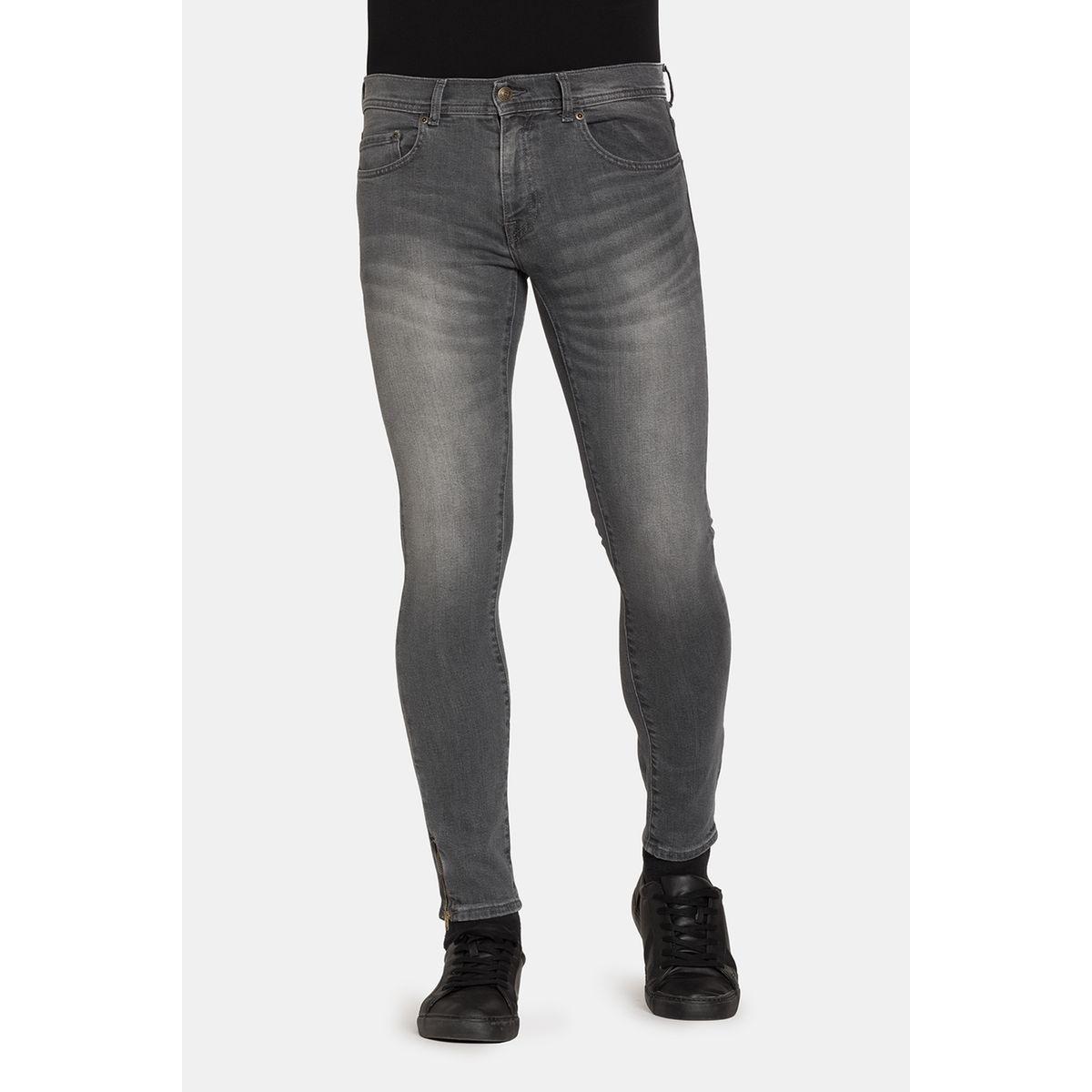 Jeans couleur unie 5 poches