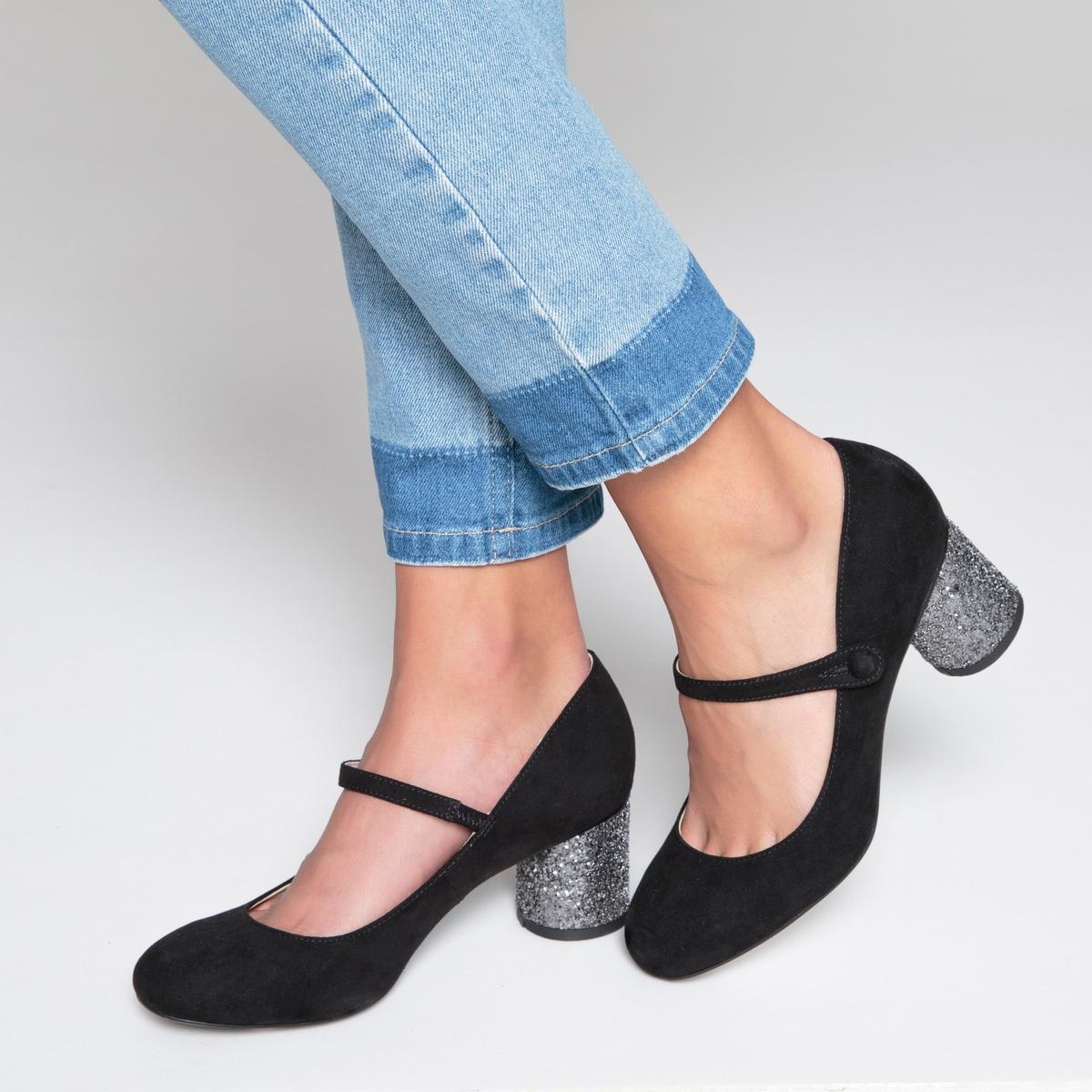 Балетки на каблуке с пайетками