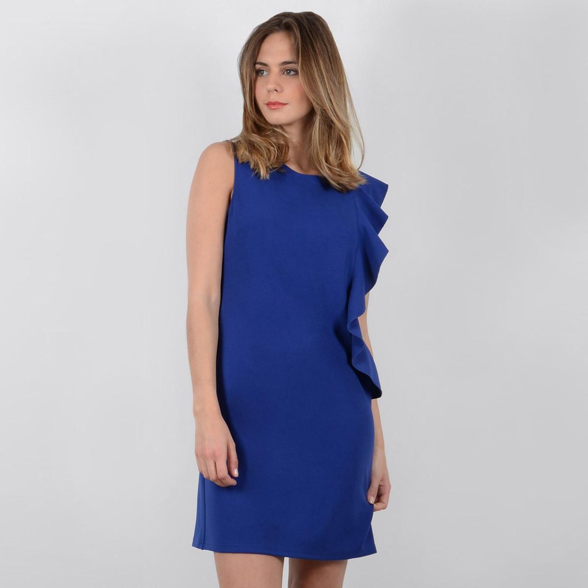 Платье короткое прямое однотонное, без рукавов