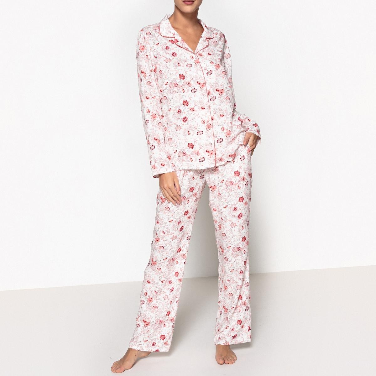 Пижама с рубашкойОписание:Пижама в мужском стиле с цветочным рисунком, придающим женственности! Детали. •  Пижамас длинными рукавами. •  Брюки с эластичным поясом. •  2 боковых кармана. •  Длина : вверху : 68,30 см, длина по внутр. шву : 77 смСостав и уход •  Материал : 100% вискоза. •  Машинная стирка при 30° с вещами схожих цветов. •  Стирать и гладить с изнаночной стороны. •  Машинная сушка запрещена. •  Гладить при низкой температуре.<br><br>Цвет: набивной рисунок