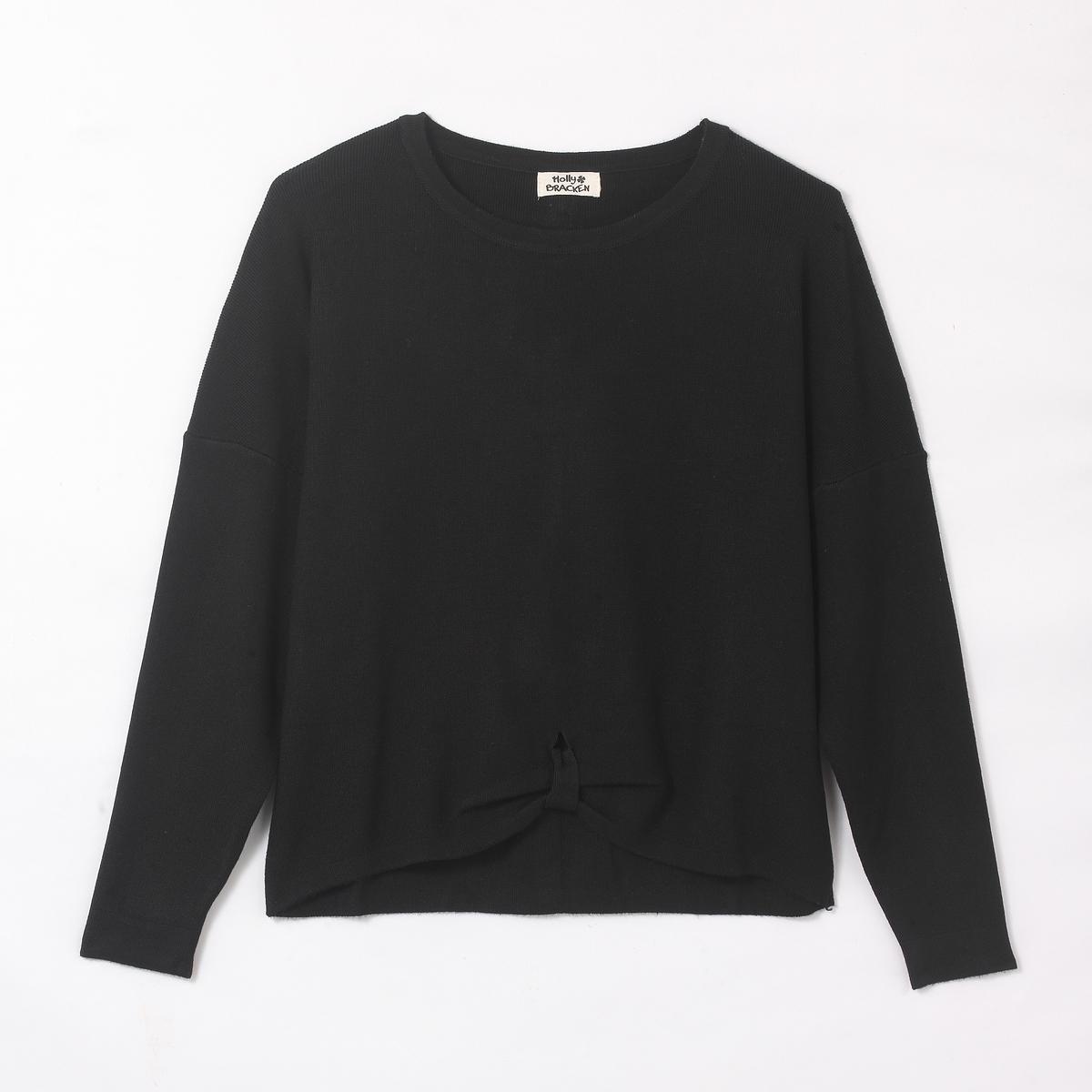Пуловер на завязке с расклешенными рукавамиСостав и описаниеМарка : MOLLY BRACKENМатериал : 90% хлопка, 10% эластанаУходМашинная стирка при 30 °CСтирать с вещами схожих цветов<br><br>Цвет: черный