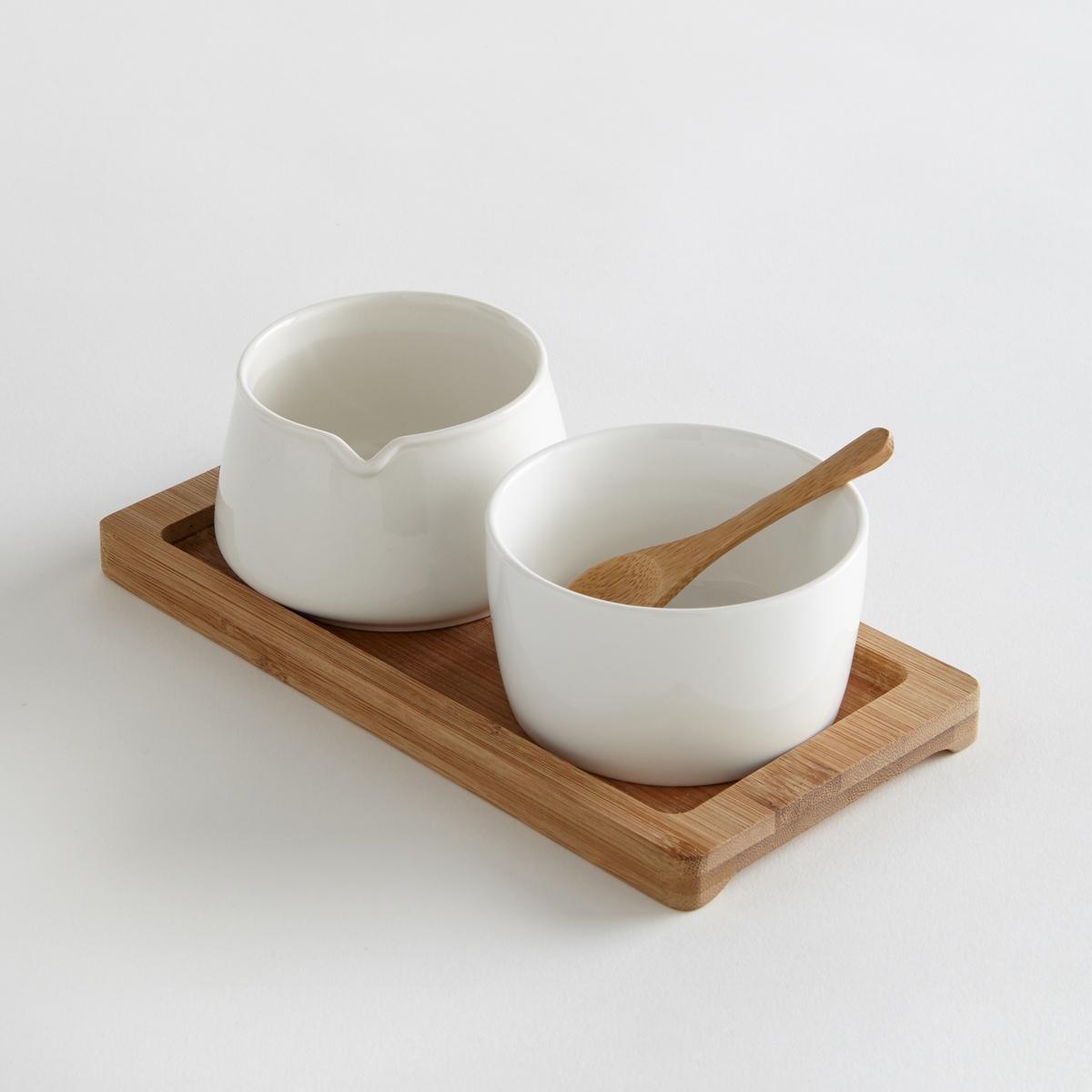 Молочник и сахарница из керамикиХарактеристики молочника и сахарницы:- Молочник и сахарница из керамики- Поднос и половник из бамбука- Размеры: Д 20,5 x Ш 10,5 см - Высота: 6,5 см - Молочник и сахарница, подходят для мытья в посудомоечной машине- Мытье подноса из бамбука в посудомоечной машине запрещено.<br><br>Цвет: белый<br>Размер: единый размер