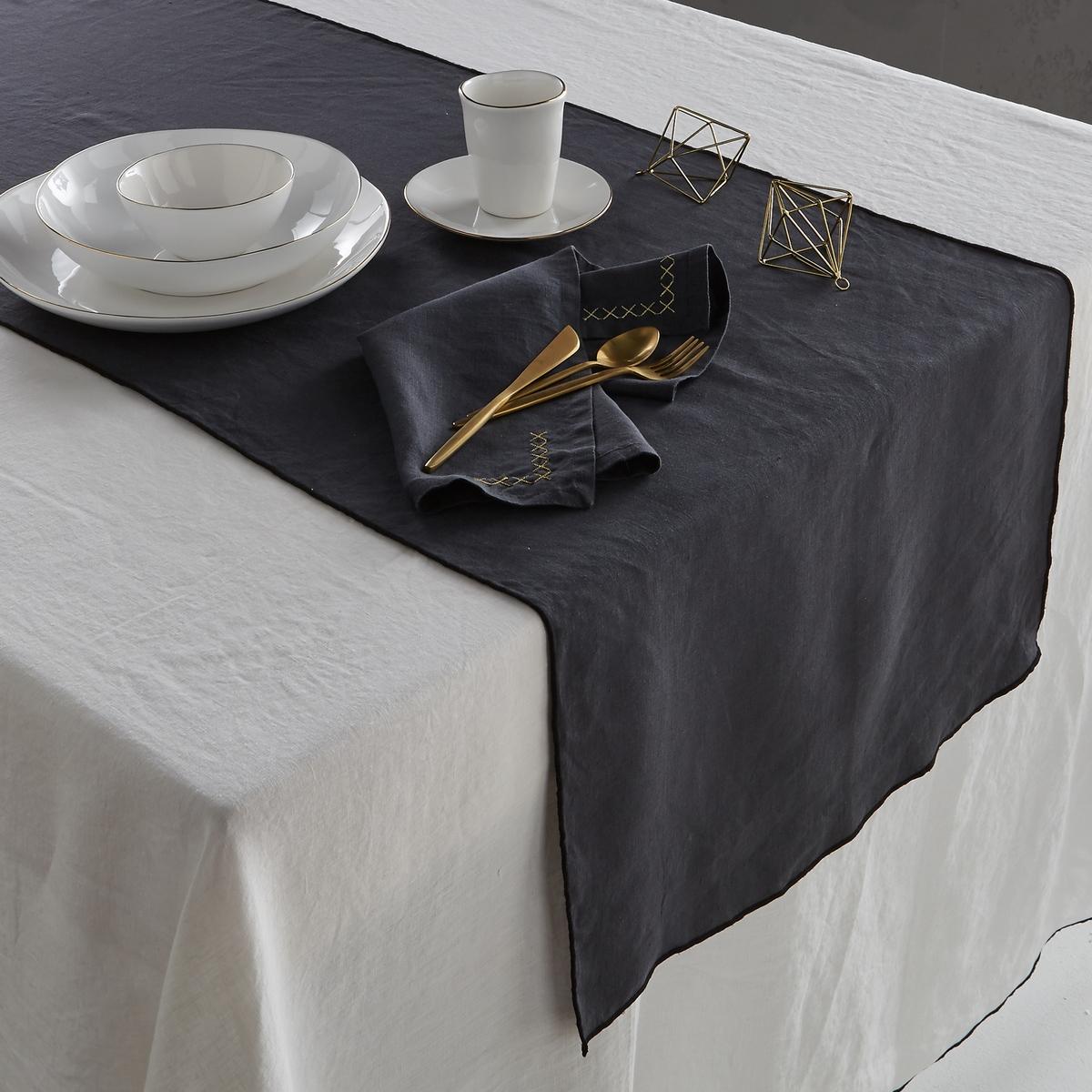 Дорожка столовая из стиранного льна, TarakaДорожка столовая Taraka из 100% стиранного льна. Сочетает естественную мягкость льна и роскошную отделку черного цвета . Скатерть, полотенца и подложки под столовые приборы продаются на нашем сайте .Состав : - 100% лен.Размер : - Размер 1 : ширина 50 x длина 150 см- Размер 2 : ширина 50 x длина 200 см Знак Oeko-Tex® гарантирует, что товары протестированы и сертифицированы, не содержат вредных веществ, которые могли бы нанести вред здоровью.<br><br>Цвет: антрацит<br>Размер: 50 x 200  см