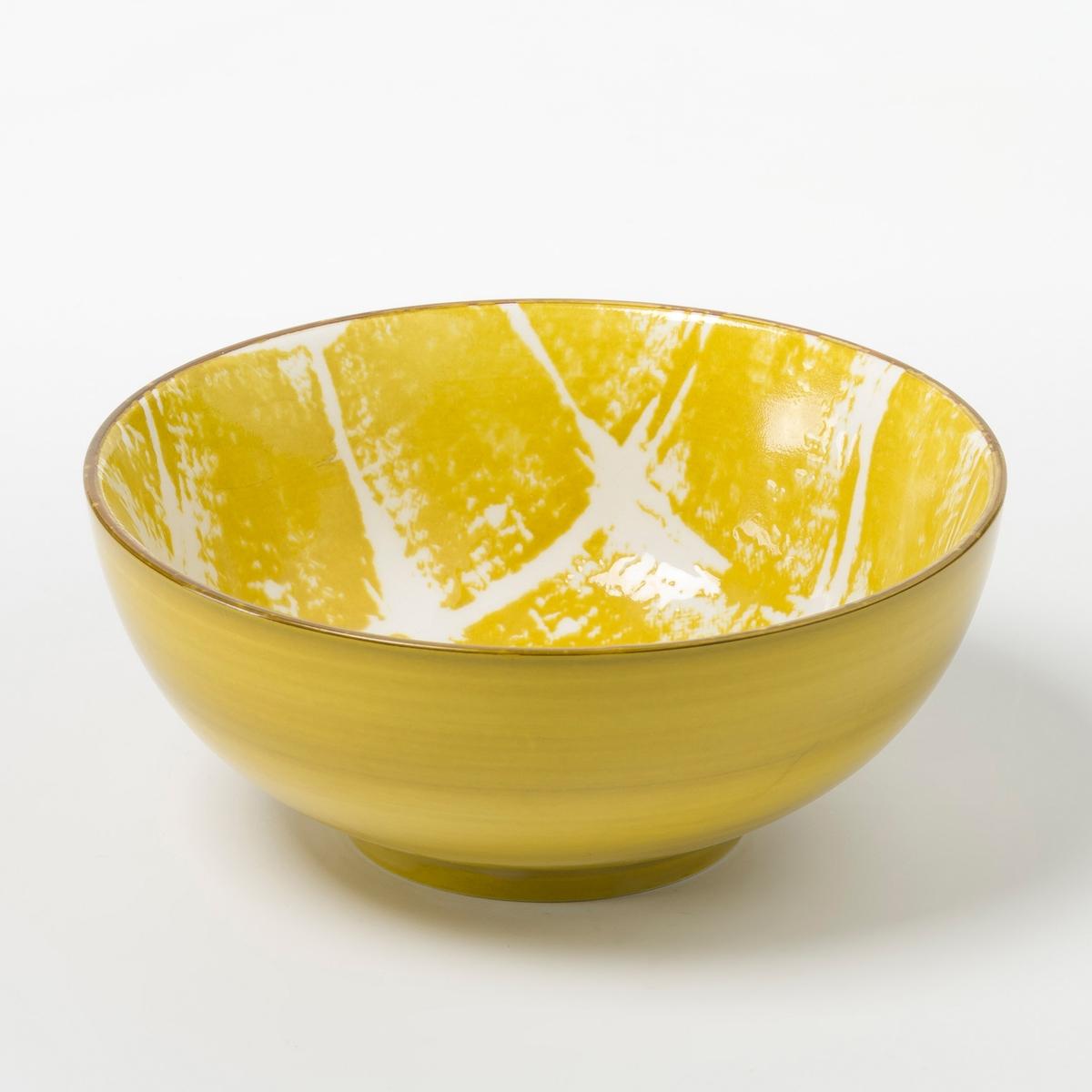 Комплект из 4 мисок из керамики MaladoКомплект из 4 мисок Malado. Геометрический рисунок цвета индиго в стиле икат, коричневая кайма по краю. Из керамики, покрытой глазурью. Размеры  : диаметр 14 x высота 6 см. Подходит для посудомоечной машины и микроволновой печи. Салатник, мелкая тарелка и десертная тарелка того же набора представлены на нашем сайте.<br><br>Цвет: горчичный<br>Размер: единый размер