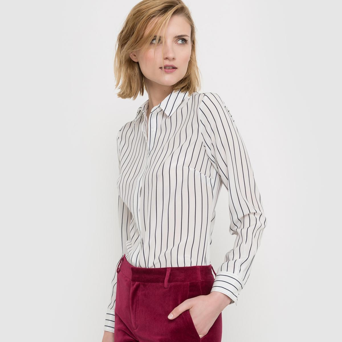 Рубашка в полоску, 100% шёлк