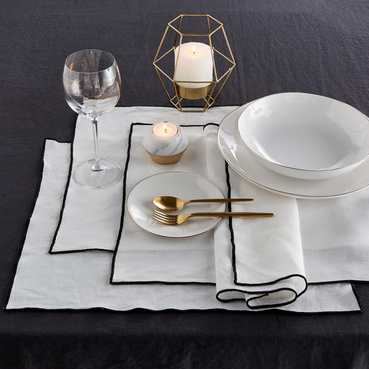 4 салфетки под тарелку льняные Taraka4 салфетки под тарелкуTaraka, 100% лен. Эти салфетки совмещают в себе природную мягкость льна и изысканность тонкой отделки черного цвета. Скатерти, салфетки и дорожки для стола в продаже на сайте.Состав : - 100% лен, подкладка: ленРазмер : - ширина 46 x длина 35 смЗнак Oeko-Tex® гарантирует, что товары протестированы, сертифицированы и не содержат вредных для здоровья веществ.<br><br>Цвет: белый<br>Размер: единый размер