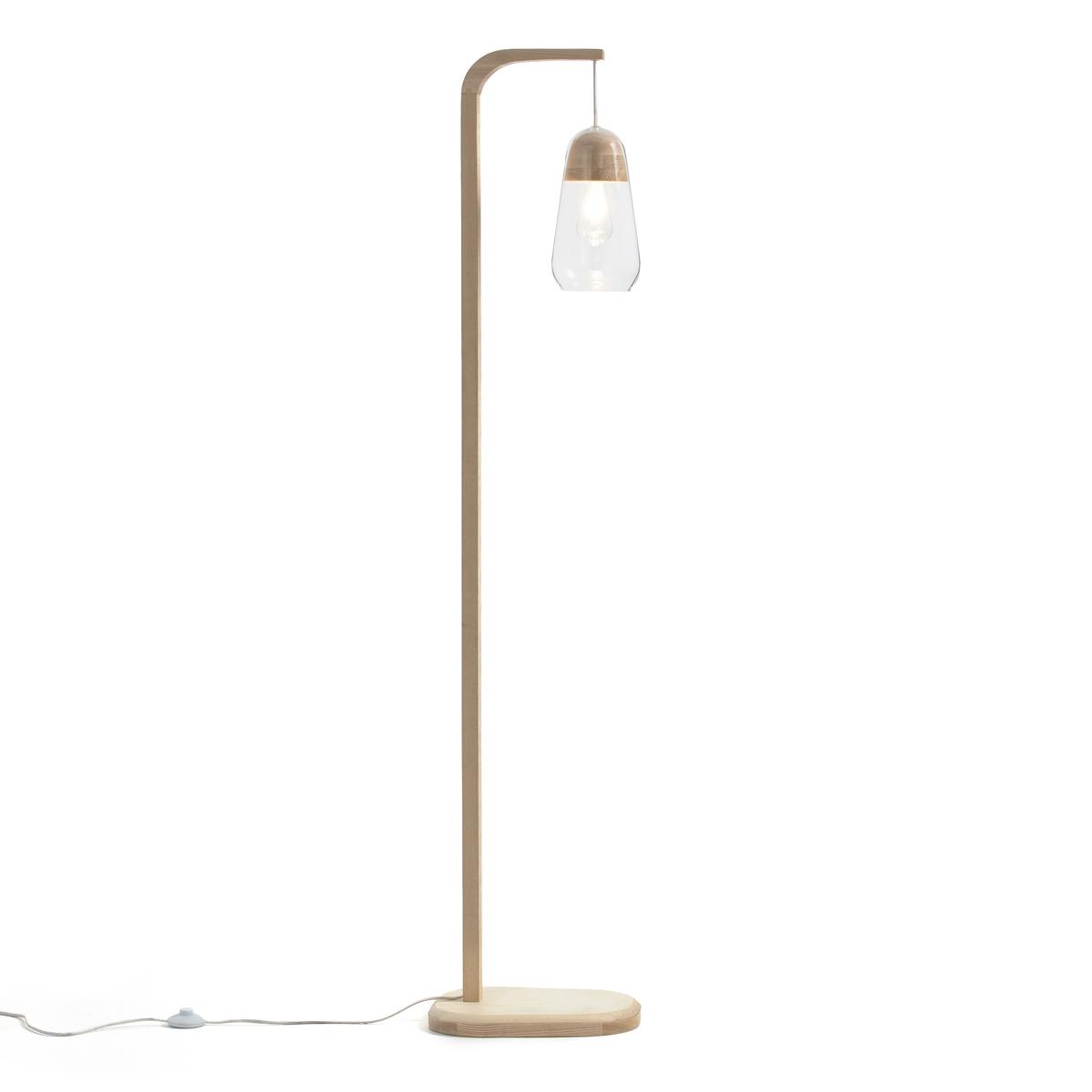 Nasoa Wood & Glass Floor Lamp